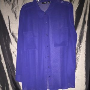 A.N.A Brand Sheer Button front blouse